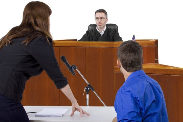 DUI attorney represents client during a DUI violation court hearing